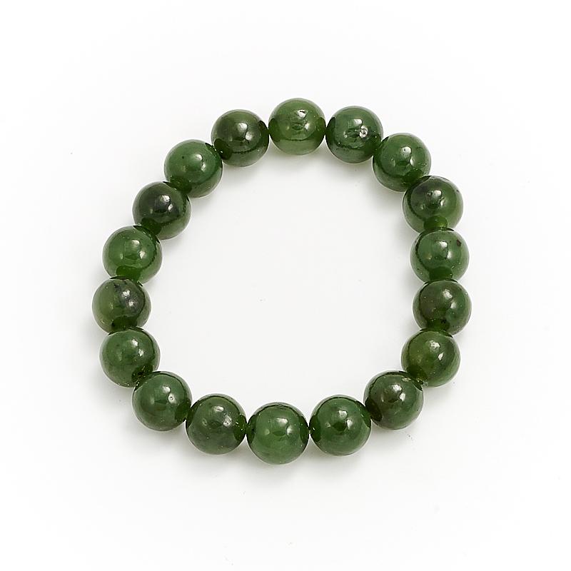 Браслет нефрит зеленый  12 мм 17 cм браслет авантюрин зеленый 12 мм 17 cм