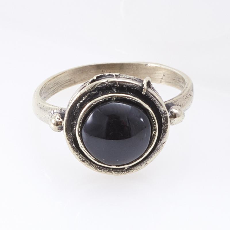 Кольцо гагат Грузия (мельхиор) размер 17