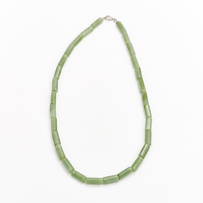 Бусы нефрит зеленый  огранка 49 см