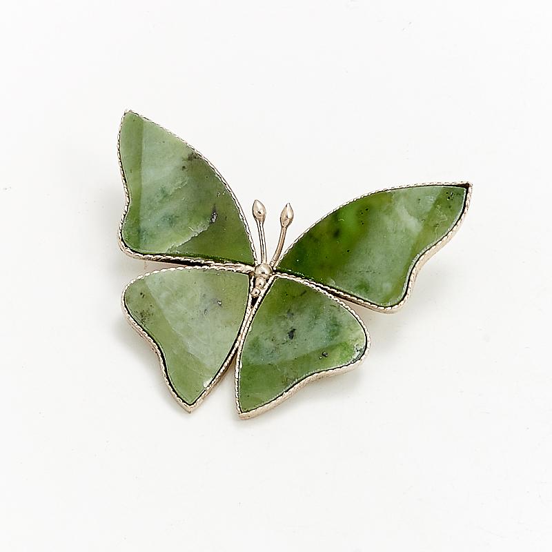Брошь нефрит зеленый  (мельхиор)