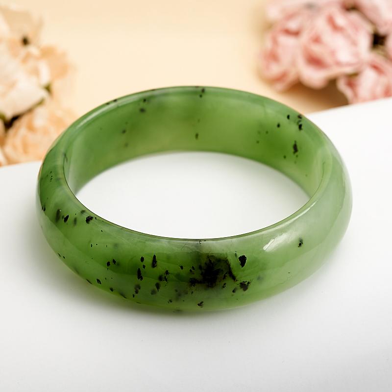 Браслет нефрит зеленый 19 cм
