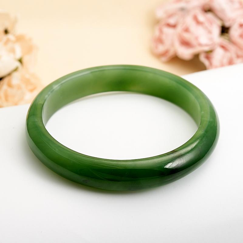 Браслет нефрит зеленый  19 cм кабошон нефрит зеленый 10 16 мм