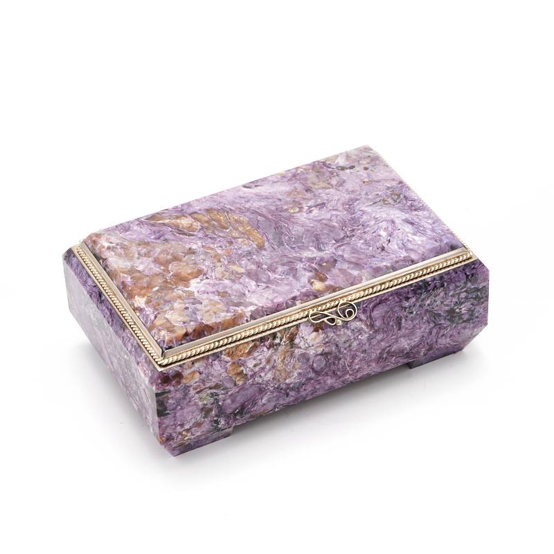 Шкатулка чароит 11х7,5х4,5 см камни полудрагоценные чароит изделия