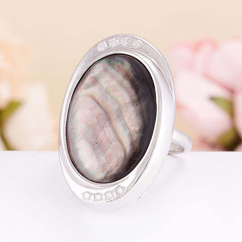 Кольцо перламутр коричневый  (серебро 925 пр.) размер 18 кольцо фаворитка перламутр