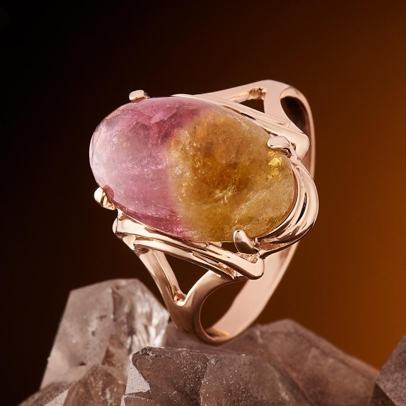 Кольцо турмалин полихромный  (золото 585 пр.) размер 19
