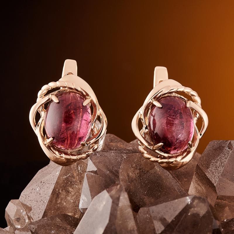 Серьги турмалин розовый (рубеллит)  (золото 585 пр.) кабошон турмалин розовый рубеллит 9 мм