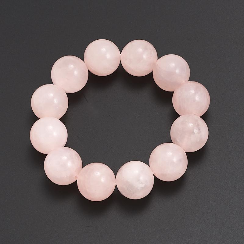 Браслет розовый кварц  16 мм 15 cм