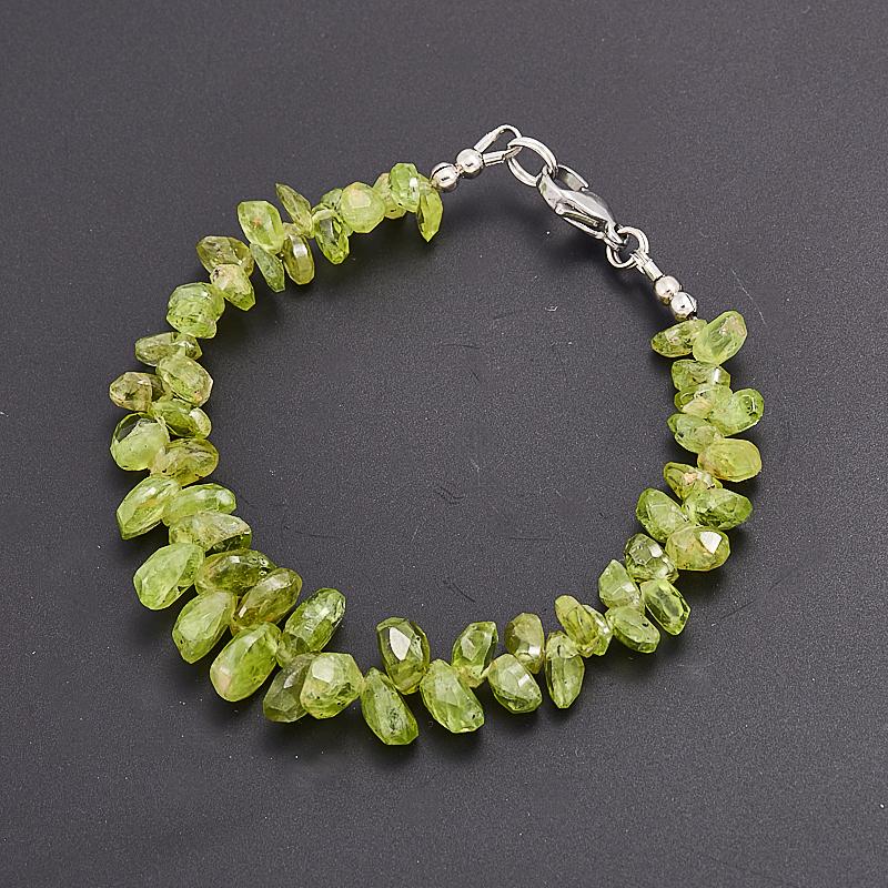 Браслет хризолит  огранка 16 cм (хир. сталь) браслет авантюрин зеленый огранка 16 cм