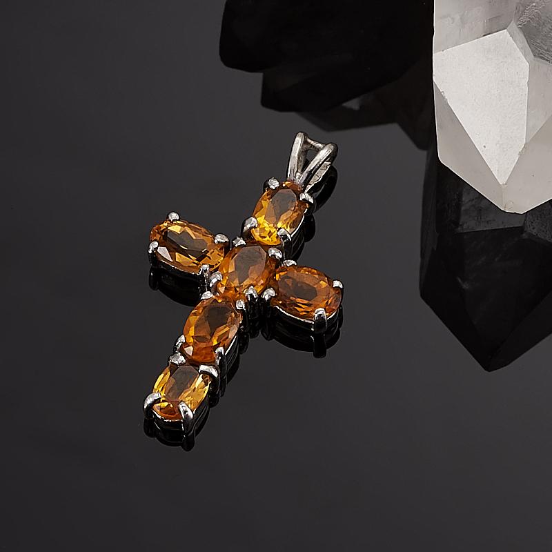 Кулон цитрин  крест огранка (серебро 925 пр.)