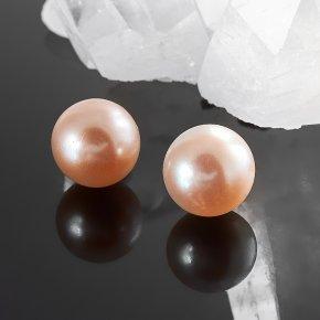 Серьги жемчуг персиковый пуссеты