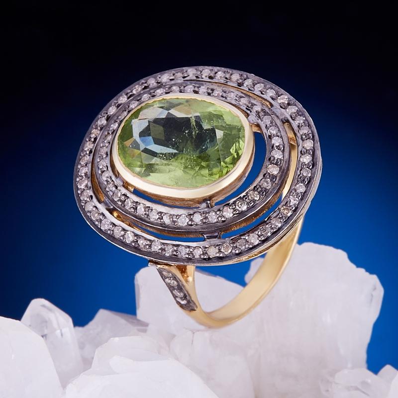 Кольцо хризолит огранка (серебро 925 пр., золото 585 пр.) размер 19