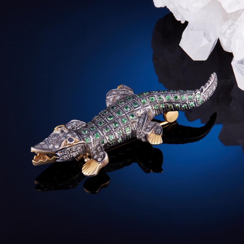 Фото - Брошь гранат цаворит огранка (серебро 925 пр., позолота) брошь blucome bijouteria esmaltes 7106100495