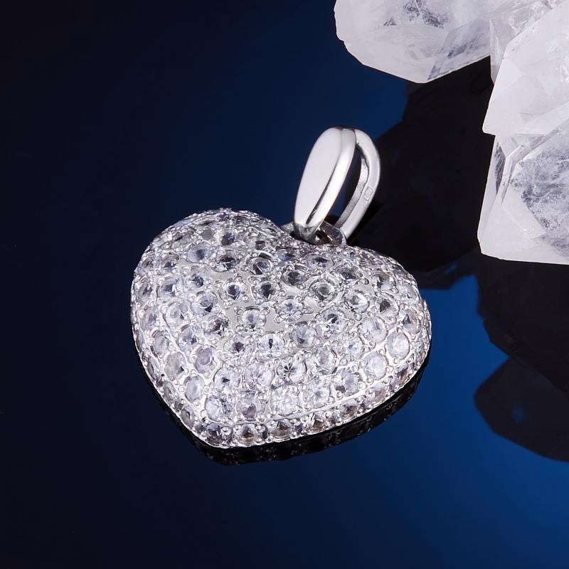 цены Кулон сапфир сердечко (серебро 925 пр., золото 585 пр.)