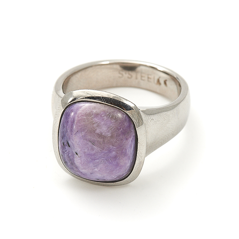 Кольцо чароит  (хир. сталь) размер 19,5