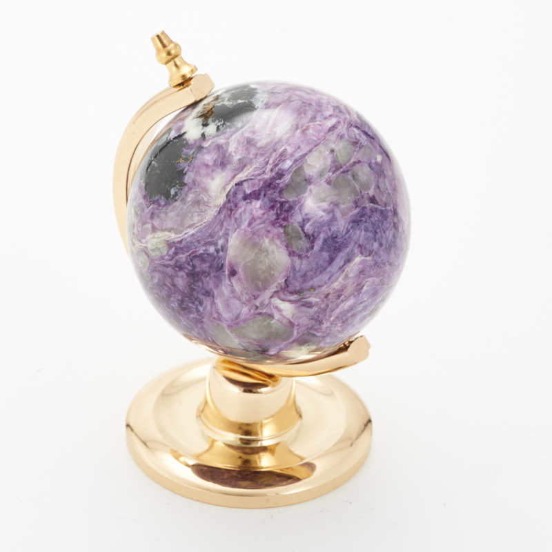 Глобус чароит 8,5 см камни полудрагоценные чароит изделия