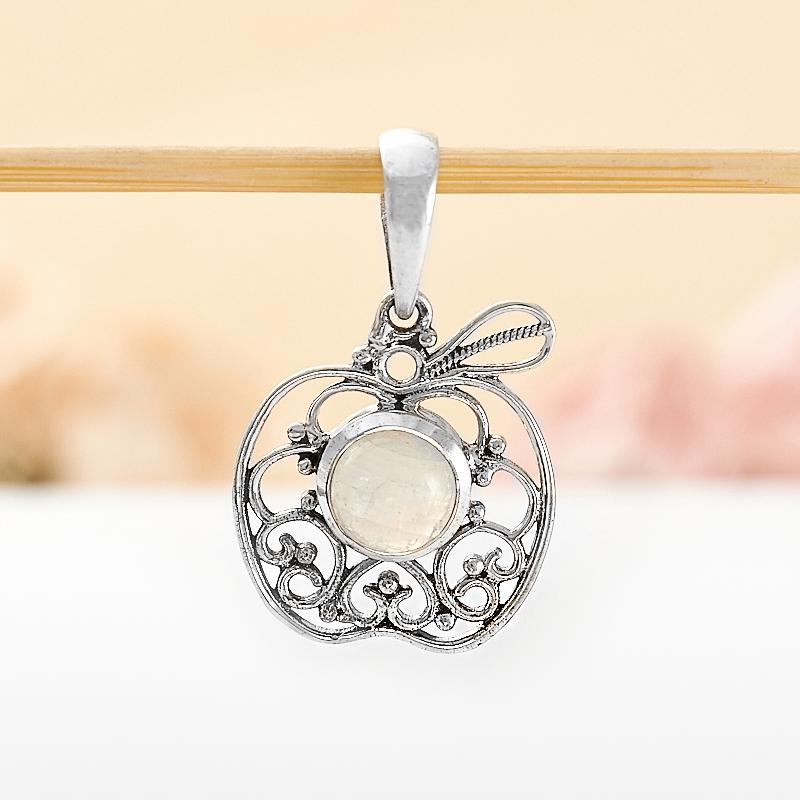 Кулон лунный камень  яблочко (серебро 925 пр.)