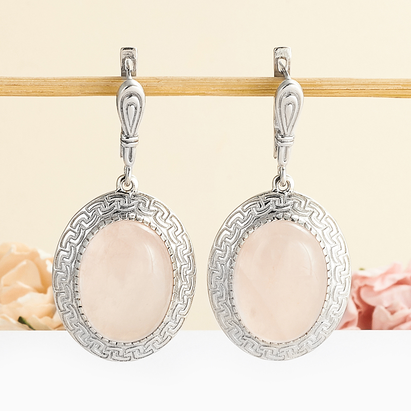 Серьги розовый кварц  (серебро 925 пр.)