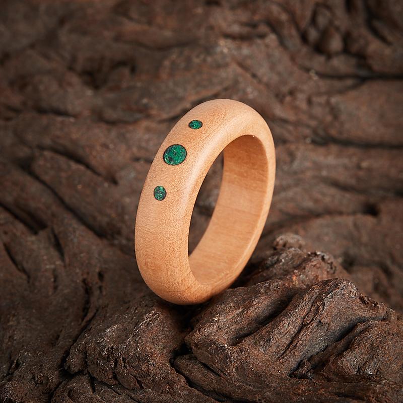 Кольцо малахит  (дерево) размер 15,5