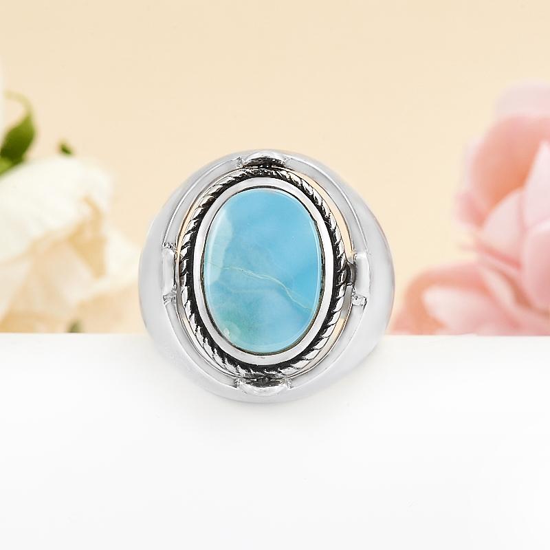 Кольцо ларимар, лунный камень (серебро 925 пр.) размер 18