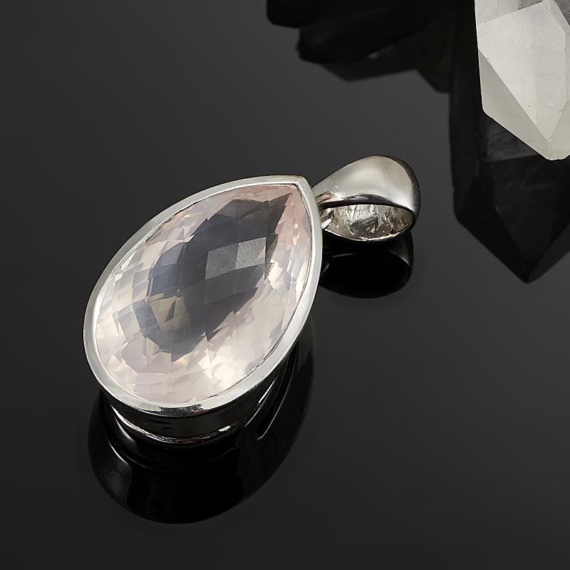 Кулон розовый кварц  капля огранка (серебро 925 пр.)