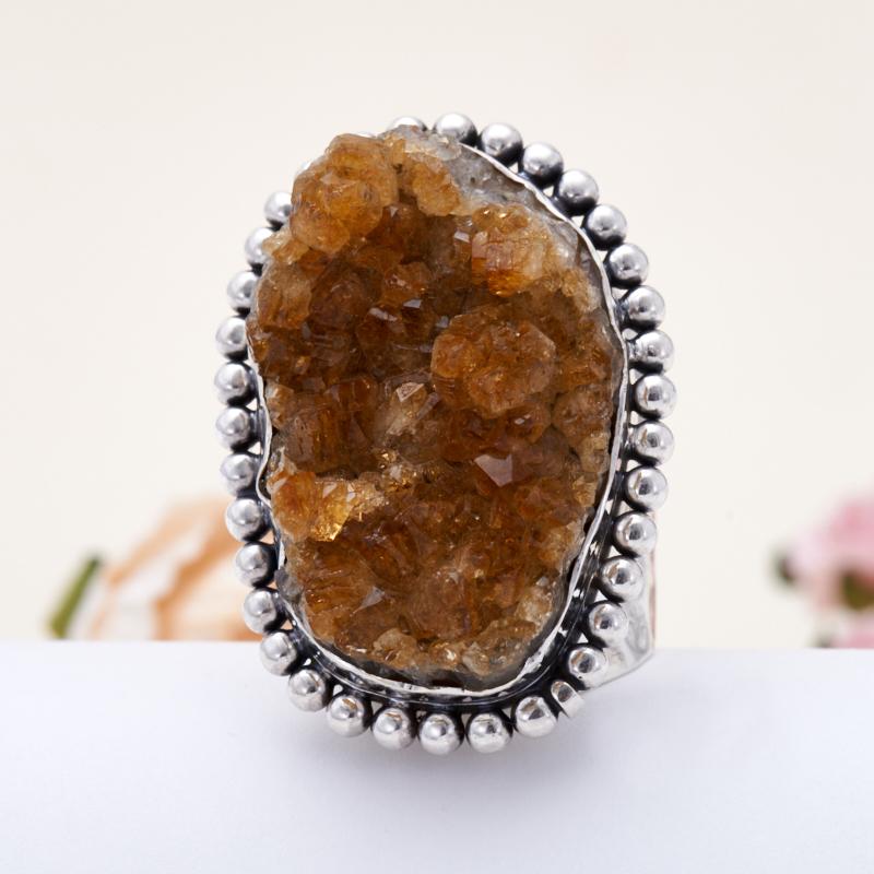Кольцо цитрин  (серебро 925 пр.) размер 16,5