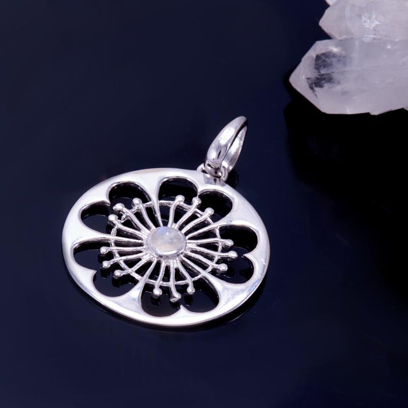 Кулон лунный камень  круг (серебро 925 пр.)