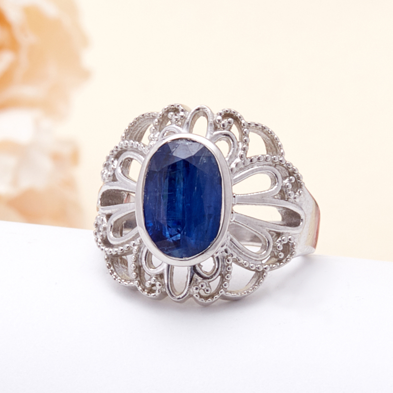 Кольцо кианит синий  огранка (серебро 925 пр.) размер 16,5