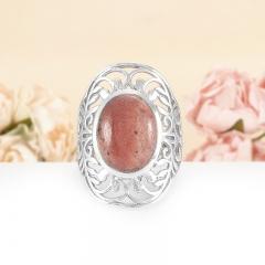 Кольцо родонит Россия (серебро 925 пр.) размер 17