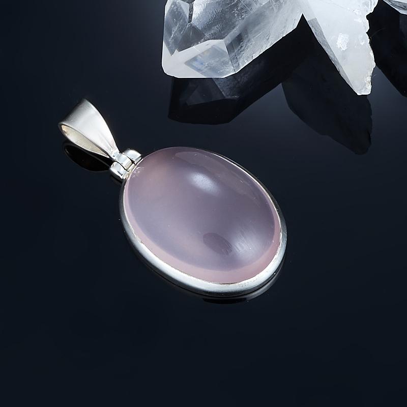 Кулон розовый кварц  овал (серебро 925 пр.)