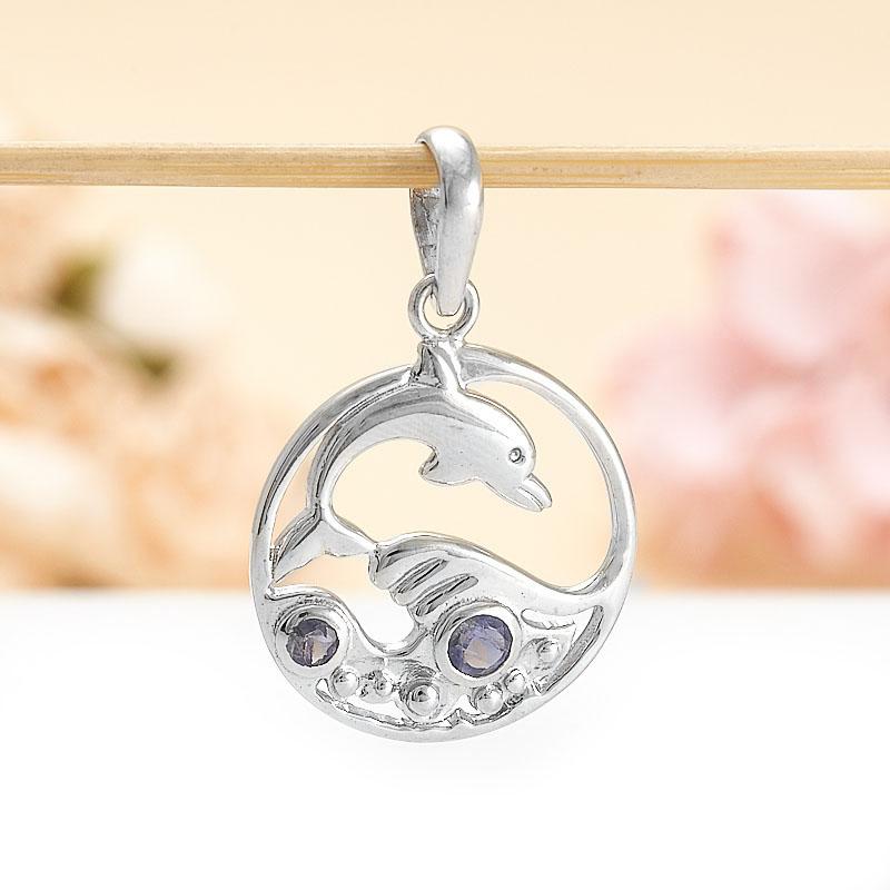 Кулон иолит (кордиерит) круг огранка (серебро 925 пр.) кулон тигровый глаз серебро 925 пр