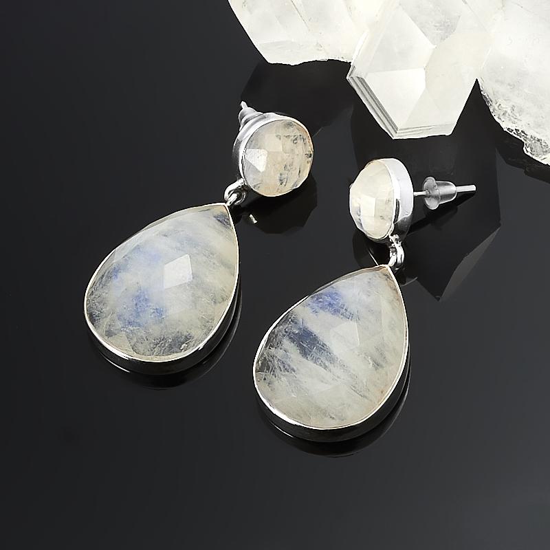 Серьги лунный камень  пуссеты огранка (серебро 925 пр.)