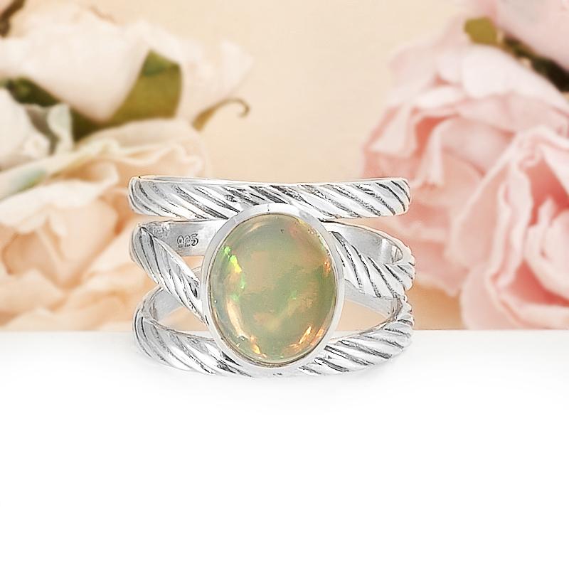 Кольцо опал благородный желтый  (серебро 925 пр.) размер 18,5