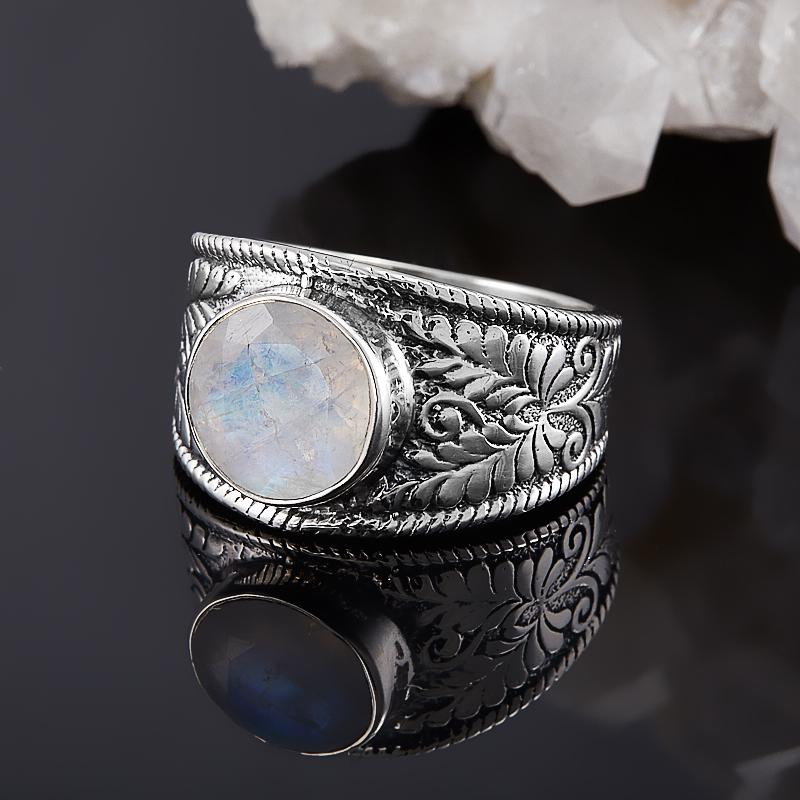 Кольцо лунный камень  огранка (серебро 925 пр.) размер 19