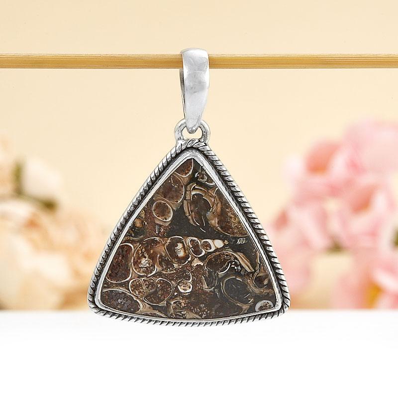 Кулон агат турителловый  треугольник (серебро 925 пр.)