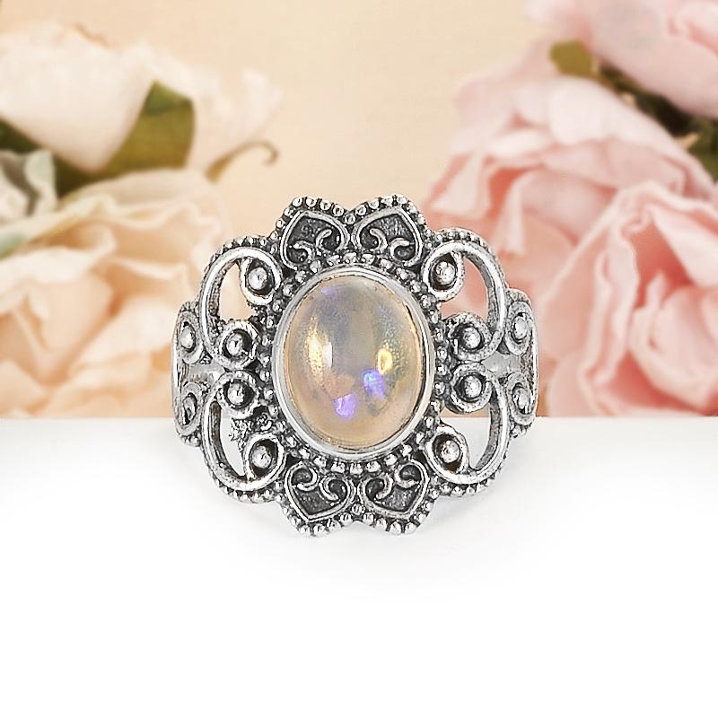 Кольцо опал благородный белый  (серебро 925 пр.) размер 19,5