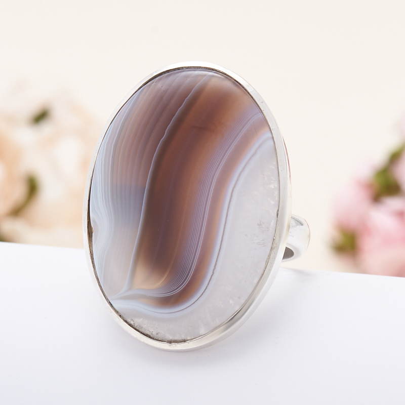 Кольцо агат серый  (серебро 925 пр.) размер 19