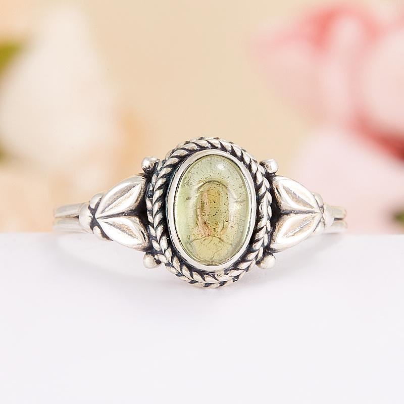 Кольцо хризолит  (серебро 925 пр.) размер 18