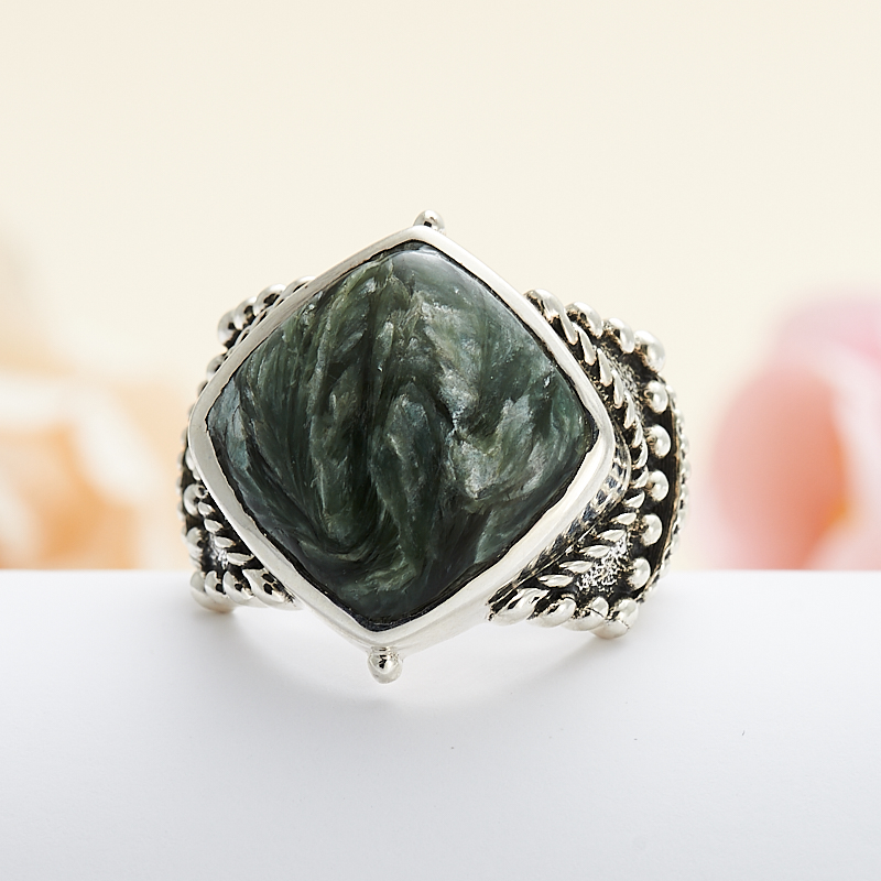 Кольцо клинохлор (серафинит) (серебро 925 пр.) размер 18 кольцо art silver цвет антрацитовый кч2077 733 размер 18