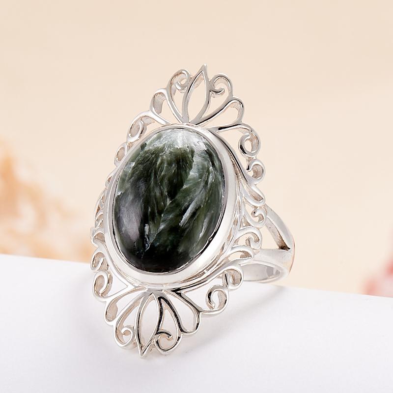 Кольцо клинохлор (серафинит)  (серебро 925 пр.) размер 19
