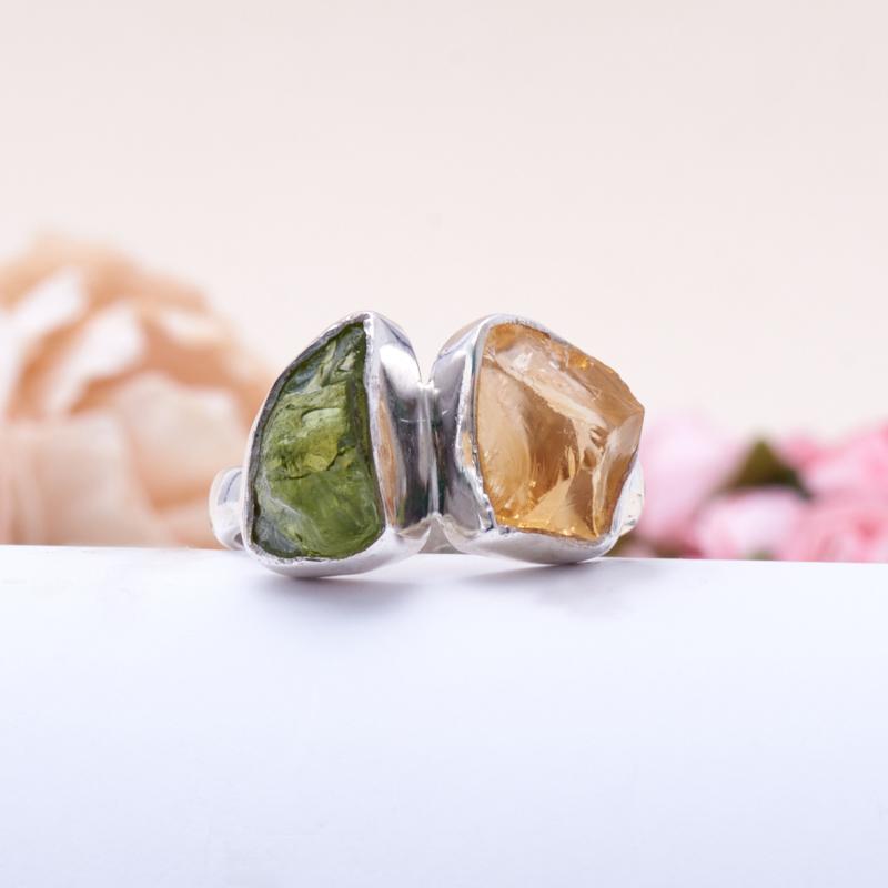 Кольцо цитрин, хризолит (серебро 925 пр.) размер 18 кольцо авантюрин зеленый серебро 925 пр размер 18