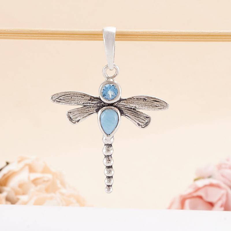 Кулон ларимар, топаз голубой (серебро 925 пр.)