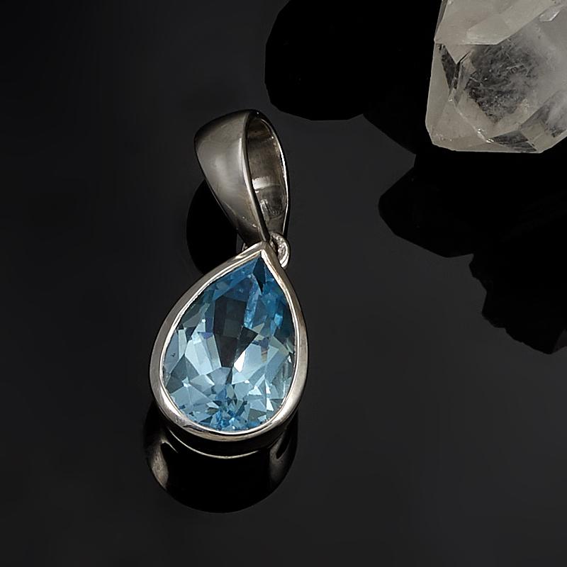 Кулон топаз голубой  капля огранка (серебро 925 пр.)