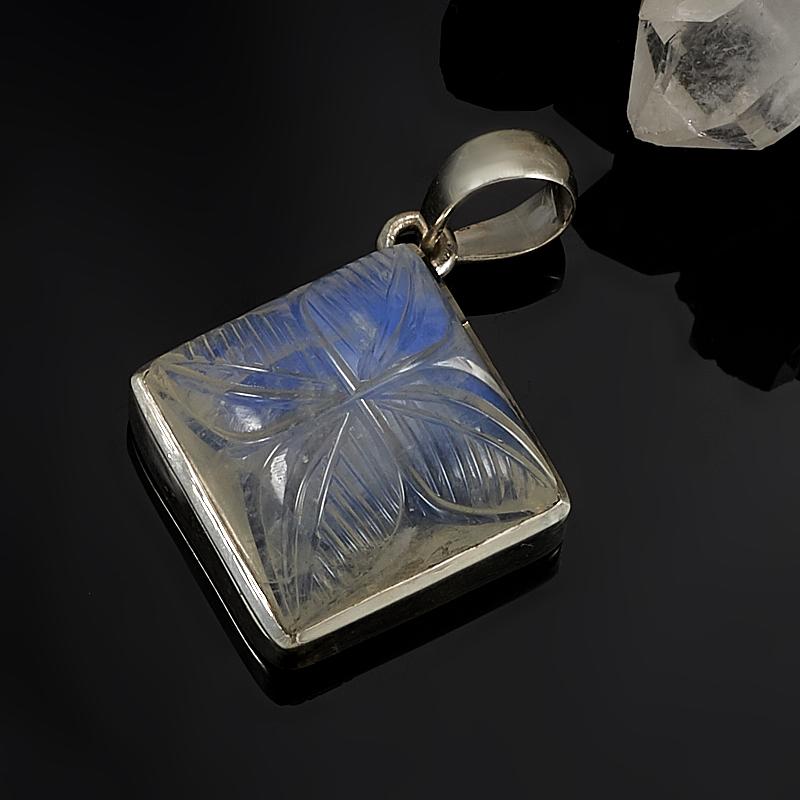Кулон лунный камень  ромб (серебро 925 пр.)