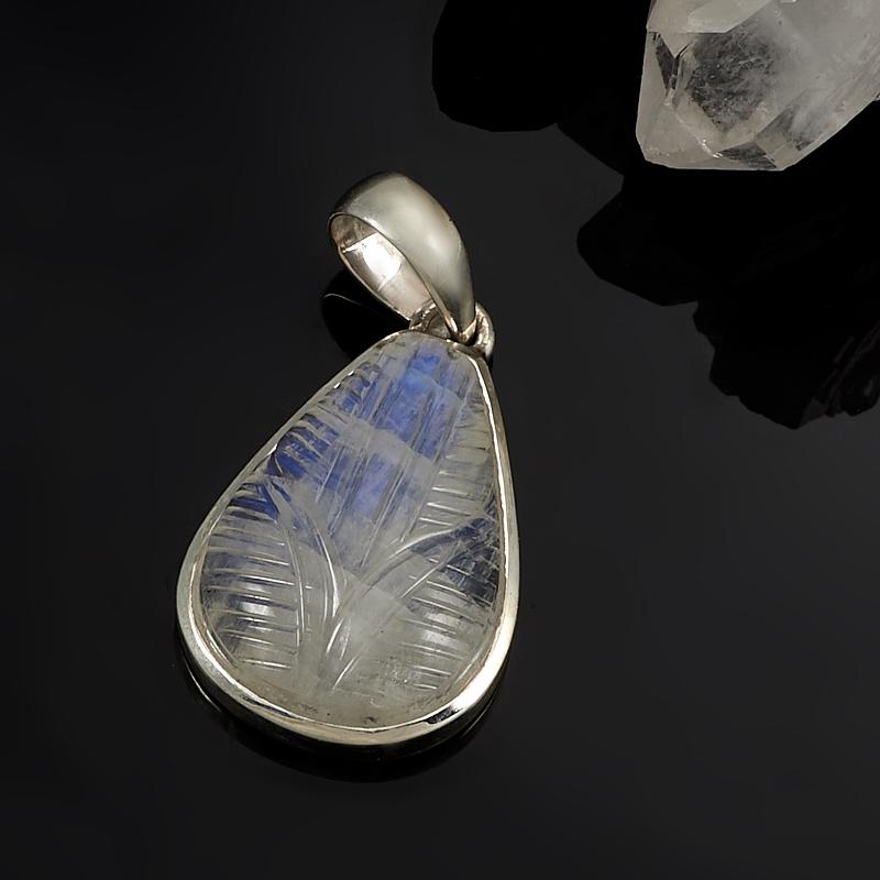 Кулон лунный камень  капля (серебро 925 пр.)
