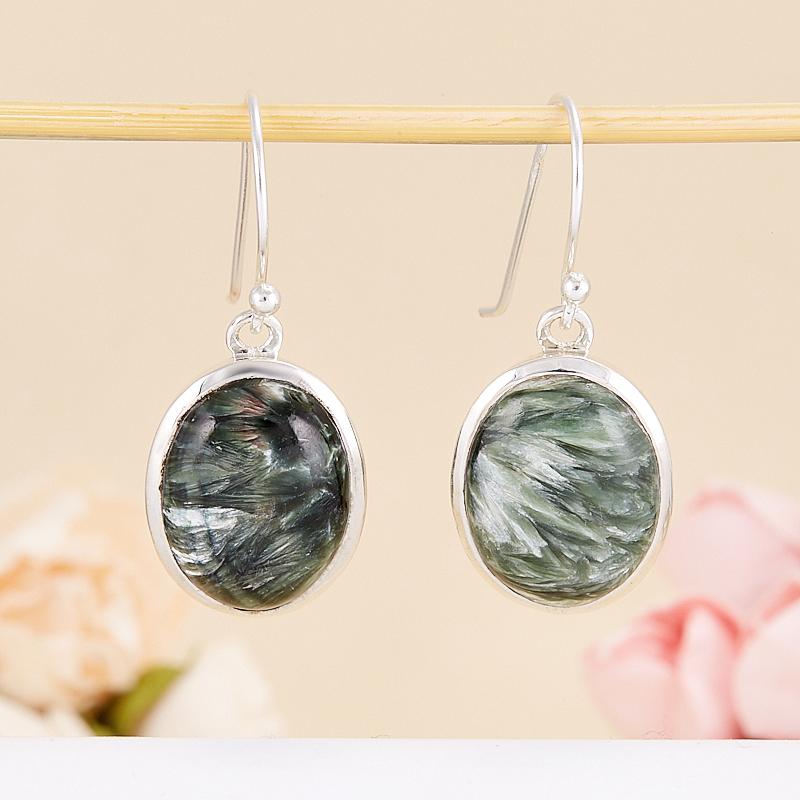 Серьги клинохлор (серафинит)  (серебро 925 пр.) серьги авантюрин зеленый серебро 925 пр
