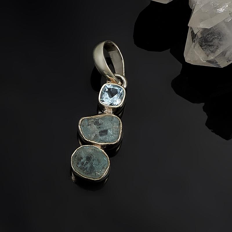Кулон аквамарин, топаз голубой  (серебро 925 пр.)