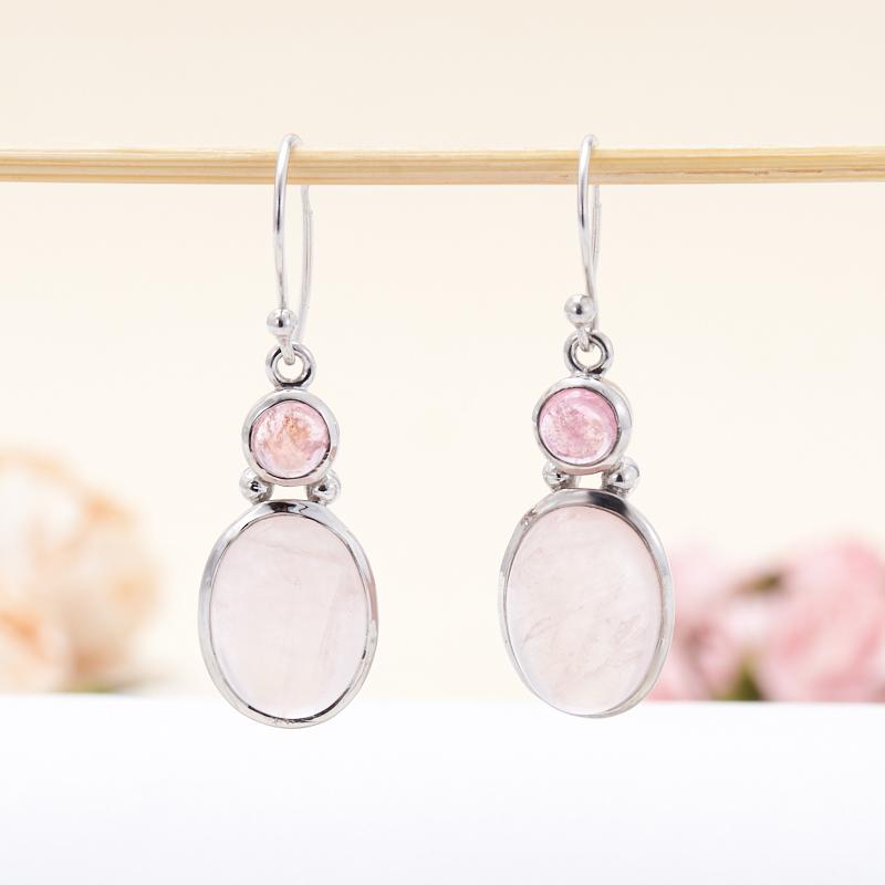 Серьги розовый кварц, турмалин (рубеллит)  (серебро 925 пр.)
