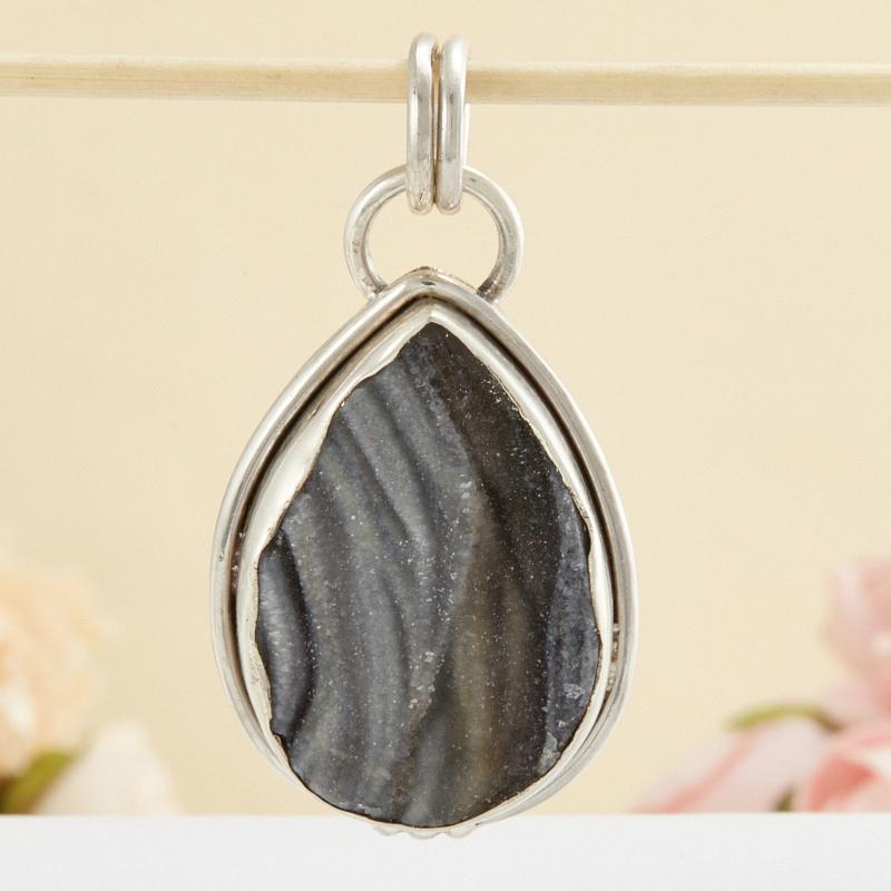 Кулон агат серый  капля (серебро 925 пр.)