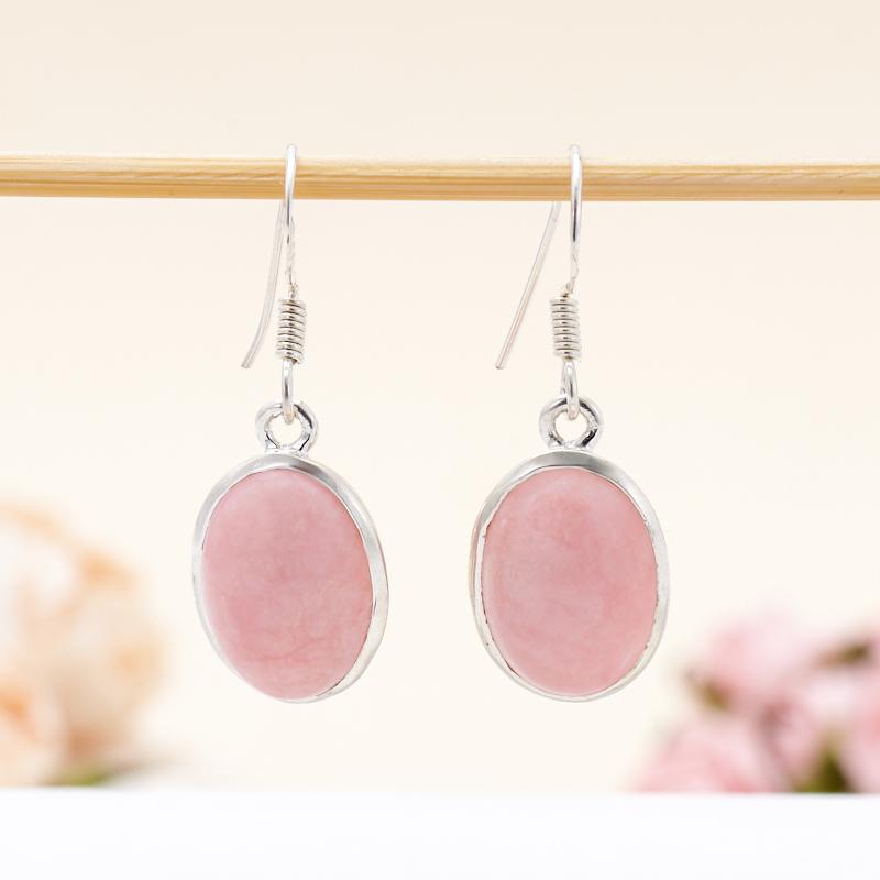 Серьги опал розовый  (серебро 925 пр.)