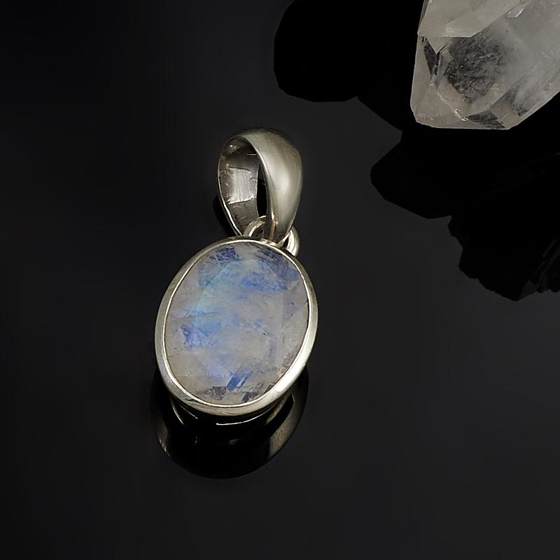Кулон лунный камень  овал огранка (серебро 925 пр.)